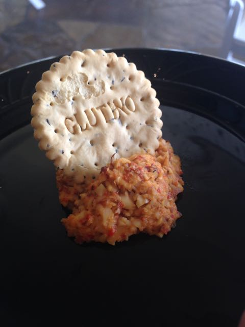 Smoked cheddar cheese ball (made from almonds)