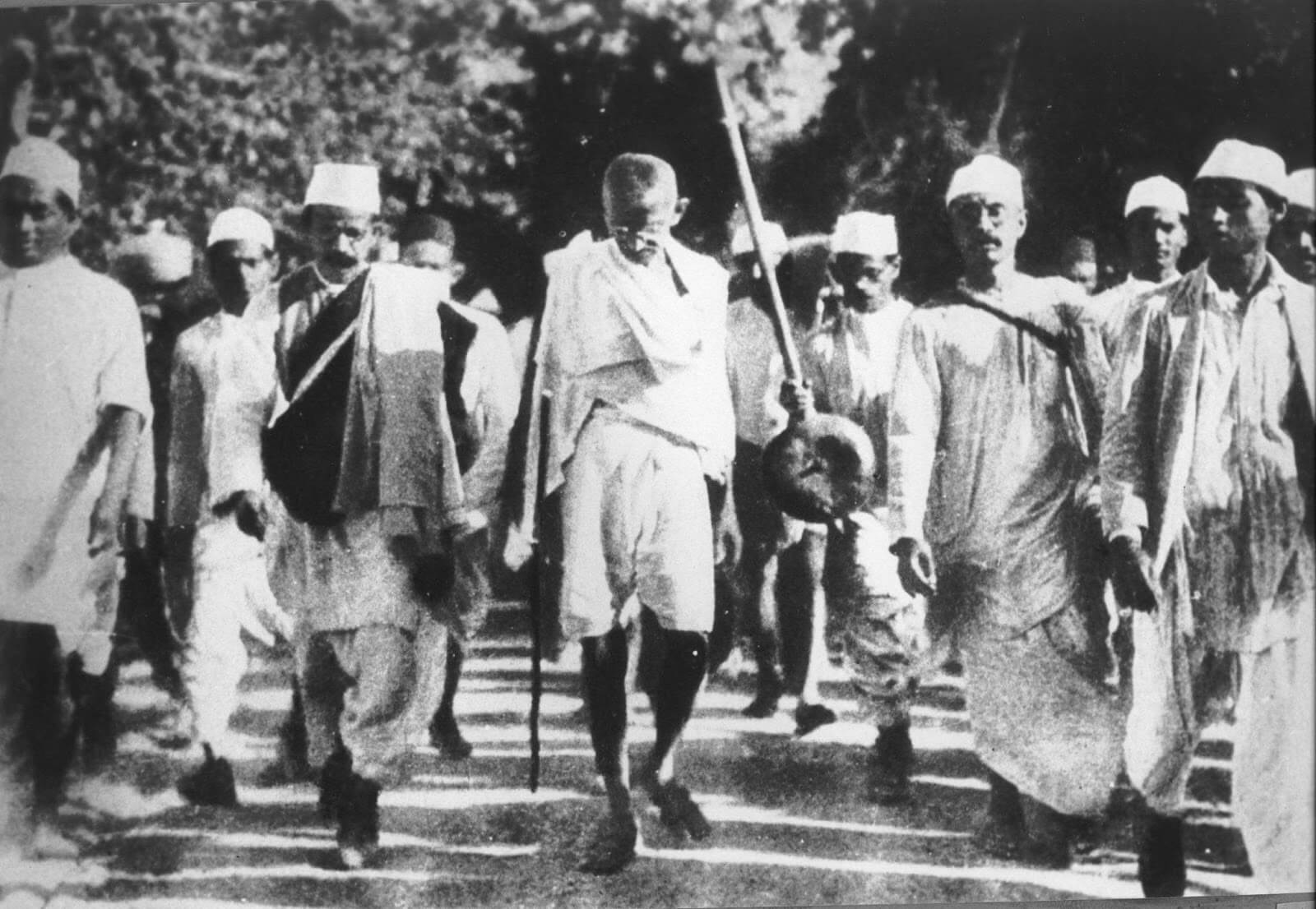 Gandhi leading followers on the Salt March in the 1920s.